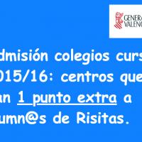 Punt extra admissió escoles València 2015/16